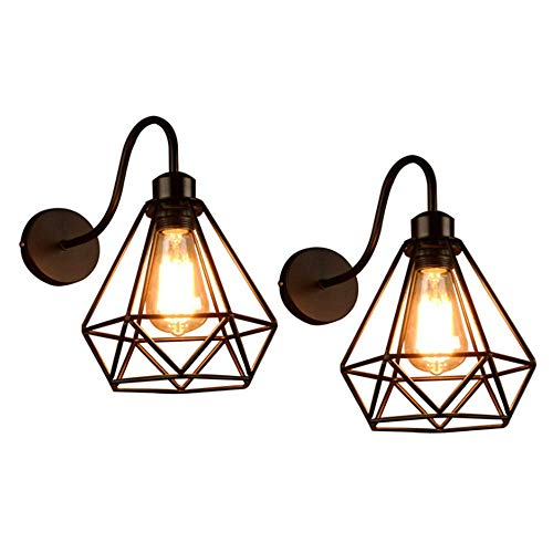 Lámpara de Pared de Estilo Vintage Retro Edison, Jaula de Metal Negro Industrial E27 Apliques de Pared Accesorio de Luz Para Sala De Estar Cocina Pasillo Dormitorio, 2Pack