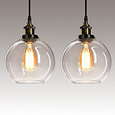 Frideko 2 Pack of Vintage Ball Glass Ceiling Pendant Light -7.8 inch Industrial Style Globe Glass Lampshade Hanging Fixture Lighting with Adjustable Cord Length for Kitchen Island Dining Room(20cm)