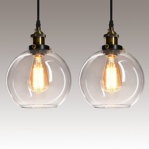 Frideko - Lámpara de Techo de Cristal con diseño de Bola Industrial Vintage para casa, Oficina, Dormitorio, cafetería, Vidrio, 2 Pcs 60.00W 110.00V