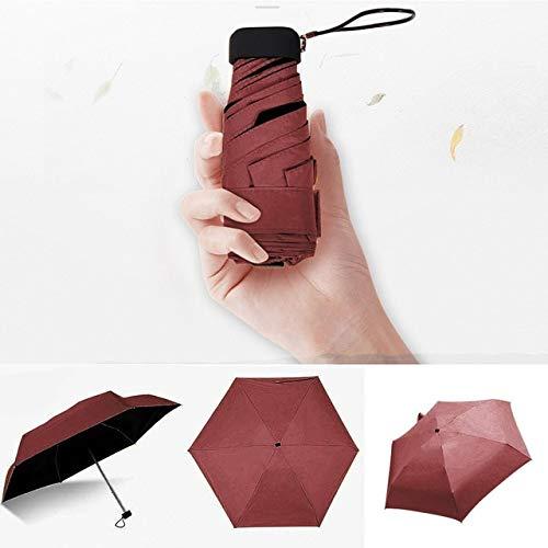 Leichter Regenschirm Faltbarer Sonnenschirm Mini Regenschirm Kreativ Ultraleicht 50 Falten Flach Leicht Taschenschirm Ultra#30 - Rot, a1