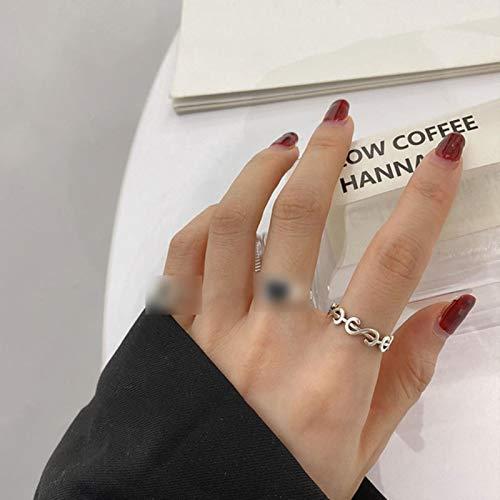 LuckyOne Anillo de plata de ley 925 con forma de corazón de Corea con diseño de dólar de durazno, anillo de cola de dedo de índice caliente