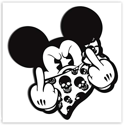 SkinoEu® 2 STÜCK Vinyl Aufkleber Stickers AUTOAUFKLEBER Maus Mouse MITTELFINGER STINKEFINGER Auto Motorrad Fenster TÜR Fahrrad Tuning B 34