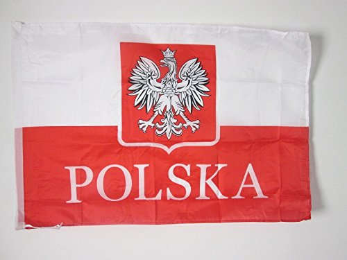 AZ FLAG Bandera de Polonia con Aguila Alternativo 90x60cm para un Palo - Bandera POLACA con Armas 60 x 90 cm Poliester Ligero