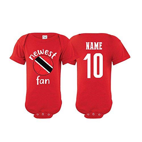Trinidad & Tobago Bodysuit Newest Fan National Team Soccer Baby Girls Boys Customized (T-Shirt 6M) Red