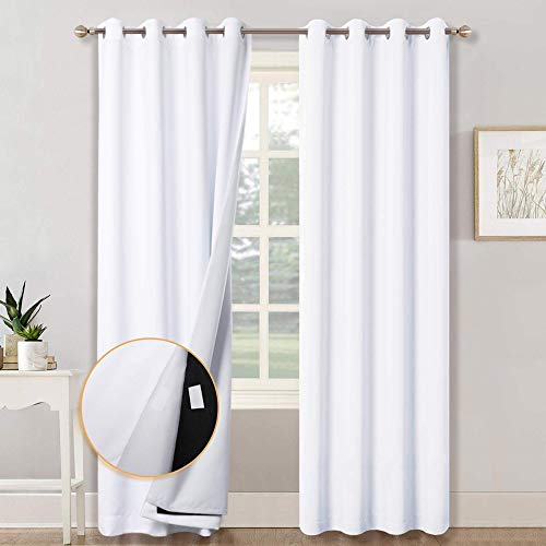 RYB HOME 3-in-1 Noise - Blackout - Thermal Insulation Window Curtains, Inside Detachable Felt Liner for Noise Reduce / Sunlight Block for Daytime Sleep / Bedroom, White, Wide 52 x Long 84 in, 1 Pair