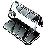 XMTON Custodia Magnetica Anti Peep per iPhone 11,Cover in Vetro Temperato a Doppia Faccia,Privacy Vetro Temperato Anti Spia e Adsorbimento Magnetico Bordo Metallo Bumper(Nero)