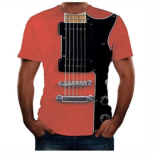 Men's Guitar 3D Printed T-Shirt Pullover Cool Summer Short Sleeve Muscle Shirt Slim Fit Basic Tee Tops - Red - XXL