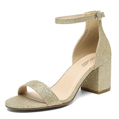 katliu Sandalias Tacón Grueso Mujer Zapatos Tacon Cuadrado Elegantes Sandalia Tacón Ancho Pulsera Verano Zapatos Fiesta Tacón Peep Toe(006 Gold, 42 EU)