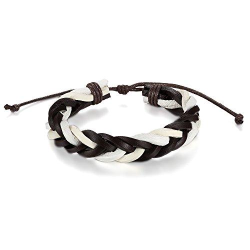 JewelryWe sieraden heren dames armband, gevlochten handgemaakte armband 22-30cm verstelbare maten, leer, bruin zwart blauw wit