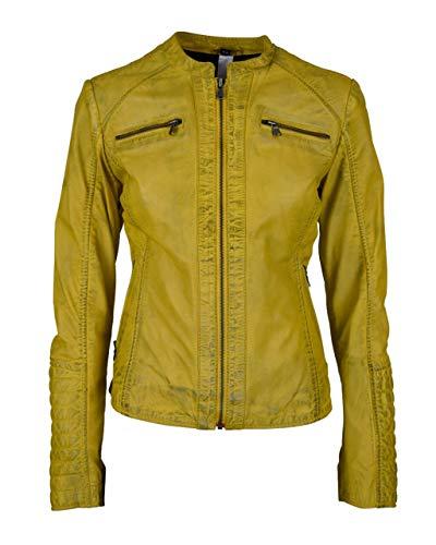 Chaqueta de cuero amarilla para mujer, estilo motorista