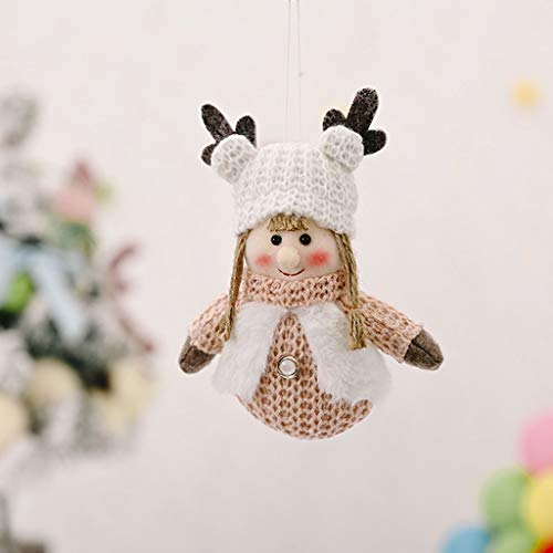 ZFK_Home Christmas Decorations Antlers Kids Christmas Figurines Gift Boys Girls Doll Xmas Tree Hanging Ornaments Novelty Christmas Pendant Holiday Party Favors