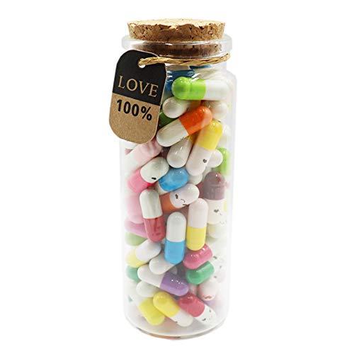 Mczxon Capsule Letters Message in a Glass Bottles, 100Pcs Cute Smiling Face Love Friendship Letter...
