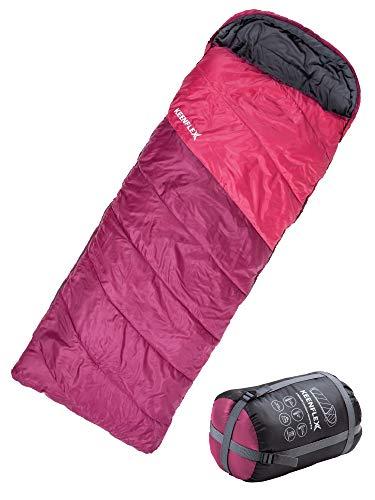 KeenFlex Sacco a Pelo Rettangolare 3 Stagioni Extra Caldo Impermeabile Sistema avanzato di Controllo del Calore - Ideale per Campeggio Zaino Trekking Festival - Sistema a Doppia Zip (Viola)
