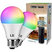 LE WiFi Lampe, 9W Dimmbar Smart LED Birne, E27 RGB + mit einstellbarer Helligkeit 2700-6500K, kompatibel mit Alexa(Echo, Echo Dot), Google Home und IFTTT Fernbedienung, Kein Gateway erforderlich, 2er