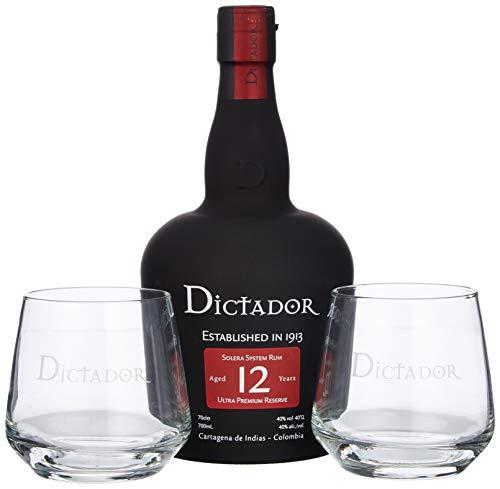 Dictador 12 Years Ultra Premium Reserve Rum mit Geschenkverpackung mit 2 Gläsern (1 x 0.7 l)