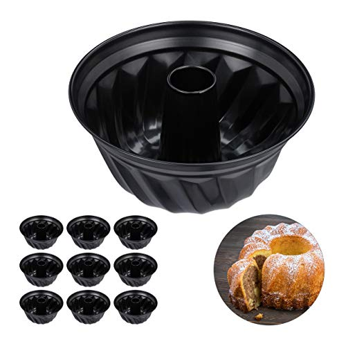 Relaxdays 10 x Gugelhupfform, Marmor- & Rührkuchen, antihaftbeschichtet, Ø 25 cm, Carbonstahl, runde Napfkuchenform, schwarz