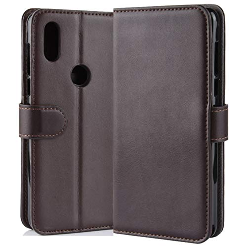 HualuBro Xiaomi Mi Mix 3 Hülle, Echt Leder Leather Wallet HandyHülle Tasche Schutzhülle Flip Hülle Cover für Xiaomi Mi Mix 3 Smartphone (Braun)