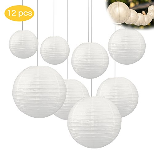 Gafild Farolillo de papel blanco, linternas de papel 12 piezas lámparas de papel redondas para decorar las luces, la fiesta, el cumpleaños y la boda con 4 tamaños - 15cm/20cm/25cm/30cm