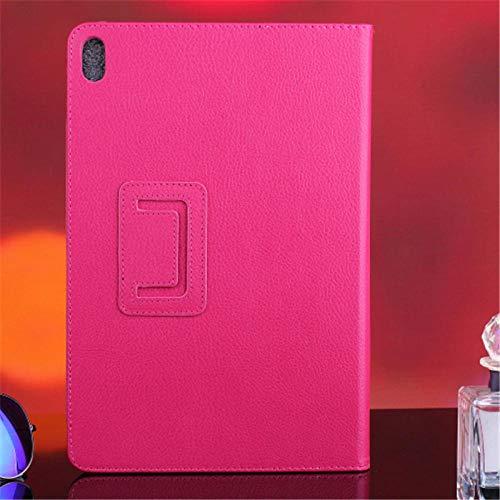 Hannuo Funda para Lenovo Idea Tab A10-70 A7600 A7600h A7600f Flio PU Funda de Cuero para Tableta con Soporte para A7600 A10-80h 10,1 Pulgadas-Rosa roja