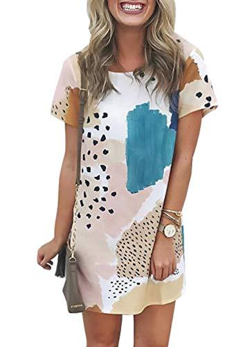 JXSEN Women Leopard Splicing Color Block Mini Dress Casual Round Neck Trendy Short Sleeve Tunic Mini Dress (M, Multicolor)