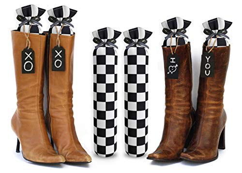 My Boot Trees, Boot Shaper Stands for Closet Organization. Many Patterns to Choose from. 1 Pair. (Black and White Checkers)