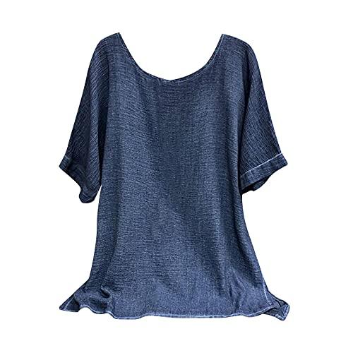 Dasongff Camiseta de manga corta para mujer, estilo informal, tallas grandes, estampada, para verano, tiempo...