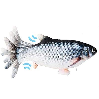Ruolan Flippity Fish Cat Toy,Electric Floppy Fish Cat Toy,Moving Fish Catnip Kicker Toys?Realistic Plush Simulation Smarter Wagging Fish Catnip Toys, Motion Kitten Toy,USB Charged (1PCS, Blue)