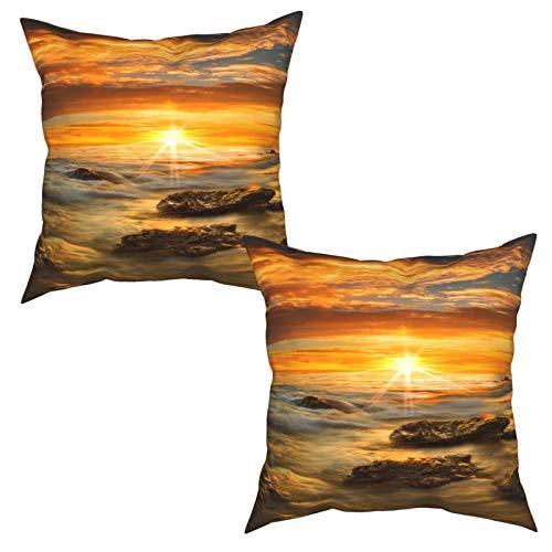 Gggo Packung mit 2 kuscheligen Kissenbezüge,Malibu Sonnenuntergang,Moderner Quadratische Kissenbezug Sofakissen Nachttisch,Home Decoration (50x50cm) x2