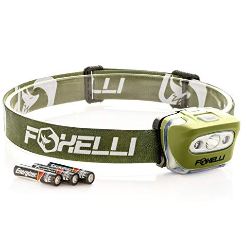 Foxelli Headlamp Flashlight - 165 Lumen, 3 x AAA Batteries...