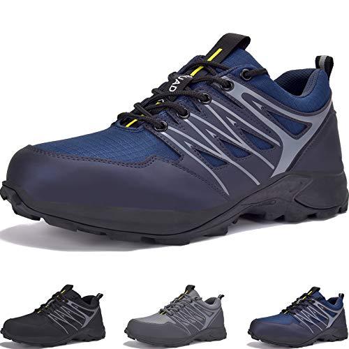 SUADEEX Sicherheitsschuhe Arbeitsschuhe Herren S3 mit Stahlkappe Anti-Smashing Anti-Piercing Atmungsaktiv Sportlich Schutzschuhe Blau 45EU
