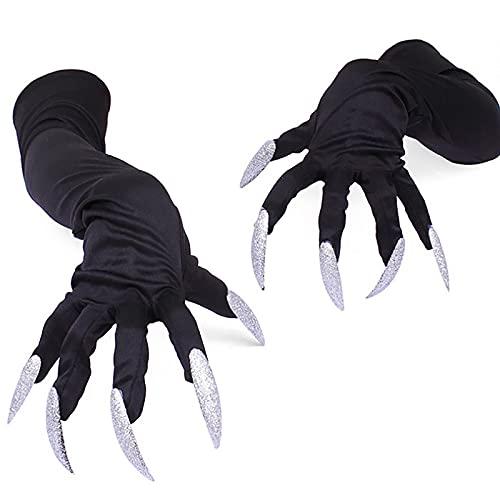 HAOXIU Halloween Handschuhe Lang Schwarz Gruselige Nägel Fingernägel Handschuhe Krallen Halloween Hexe Teufel Pfote Kostüm Katze Cosplay