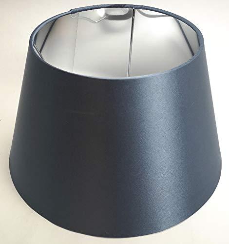 Designer-Lampenschirm-Satin-Petrol rund-konische Form Ø 30cm innen Chrom
