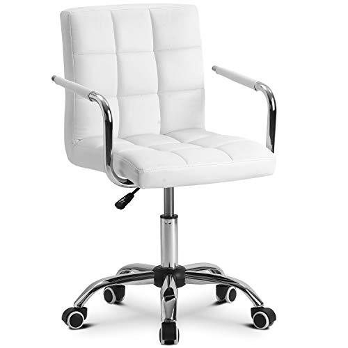 ModernLuxe Bürostuhl Kunstleder Drehstuhl Office Stuhl Chair höhenverstellbar Arbeitsstühle Polsterung Schreibtischstuhl mit Armlehnen für Büro/Wohnzimmer (Weiß)