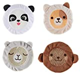INDIGO CHILD : Premium Dual Action Hot or Cold Gel Packs   4 Pack   Soft Plush Fabric Sleeves  Our Adorable'Zoo Animals Design'   Durable Gel Bead Wrap