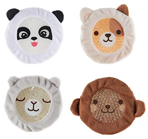 INDIGO CHILD : Premium Dual Action Hot or Cold Gel Packs   4 Pack   Soft Plush Fabric Sleeves  Our AdorableZoo Animals Design   Durable Gel Bead Wrap