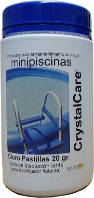 CrystalCare Cloro en Pastillas Tricloro 90%. Tabletas DE 20 gr. Especial minipiscinas. Bote 1 Kg.