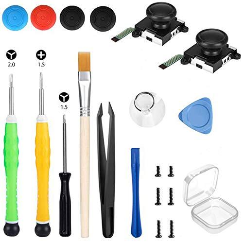 Dreiflügel-Schraubendreher-Reparatursatz für Nintendo-Schalter, 3D-Ersatzwerkzeug für analogen Joystick mit Kreuz- und Dreiflügelschraubendreher4 zusätzlichen Daumenstielkappen