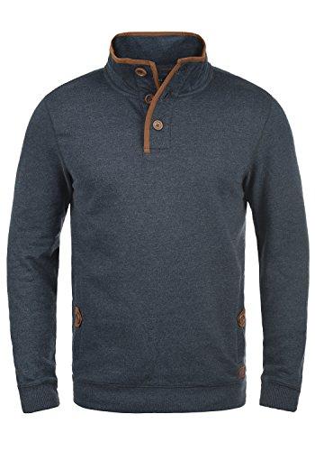 Blend Achlias Herren Troyer Sweatpullover mit Stehkragen Knöpfen und Taschen, Größe:L, Farbe:Navy (70230)