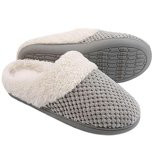 ULTRAIDEAS Women's Bubble Stitch Slippers with Memory Foam and Fleece Lining (Grey,9-10)
