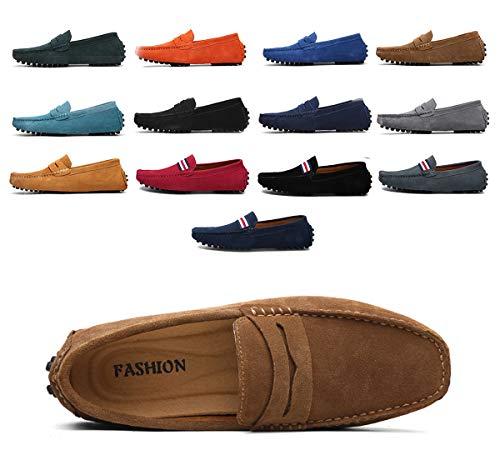 AARDIMI Herren Mokassins Bootsschuhe Wildleder Loafers Schuhe Flache Fahren Halbschuhe Beiläufig Slippers Hausschuh (43 EU, Z-Khaki)