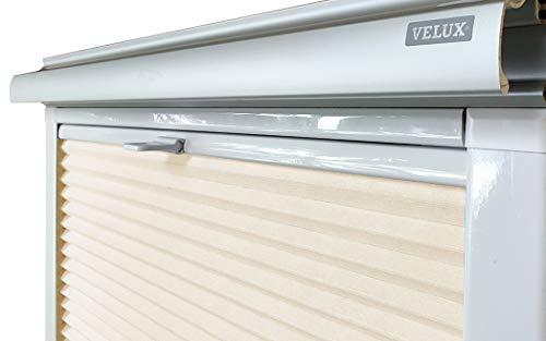 Home-Vision® Dachfenster Premium Plissee Faltrollo ohne Bohren Velux-kompatibel (Creme für UK36 - Weiß) Blickdicht Sonnenschutz, Alle Montage-Teile inklusive