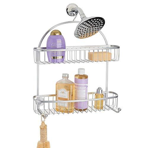 mDesign Estantería de ducha para colgar – Prácticos estantes para ducha sin taladro – Baldas para baño con 1 gran cesta de ducha, 1 cesta más pequeña y 2 ganchos de metal – plateado