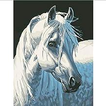 Frameloze Schilderen op Nummer Kleurplaten voor Huisdecoratie Handgeschilderde Canvas Schilderen 30 * 40 Cm Wit Paard