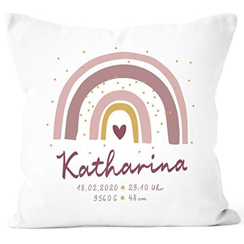 SpecialMe® personalisierbarer Kissen-Bezug zur Geburt Regenbogen Namenskissen Herz Geschenk Geburt Baby Mädchen weiß 40cm x 40cm