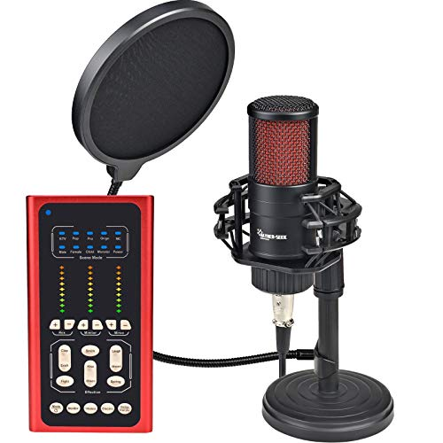 Podcast Microphone with Sound DJ Mixer Audio Interface Condenser Studio Mic Kit with Stand Smartphone Wireless Laptop Computer Vlog Living Broadcast Live Streaming YouTube TikTok