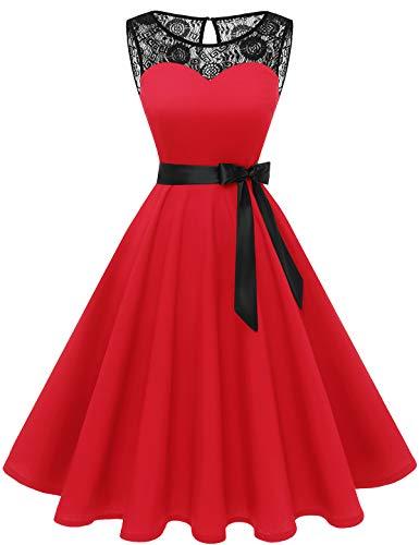 bbonlinedress 1950er Ärmellos Vintage Retro Spitzenkleid Rundhals Abendkleid Red XL