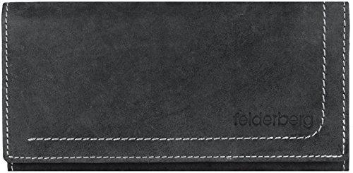 'Nelly' große Geldbörse aus geöltem Hunterleder, Farbe:Schwarzgrau