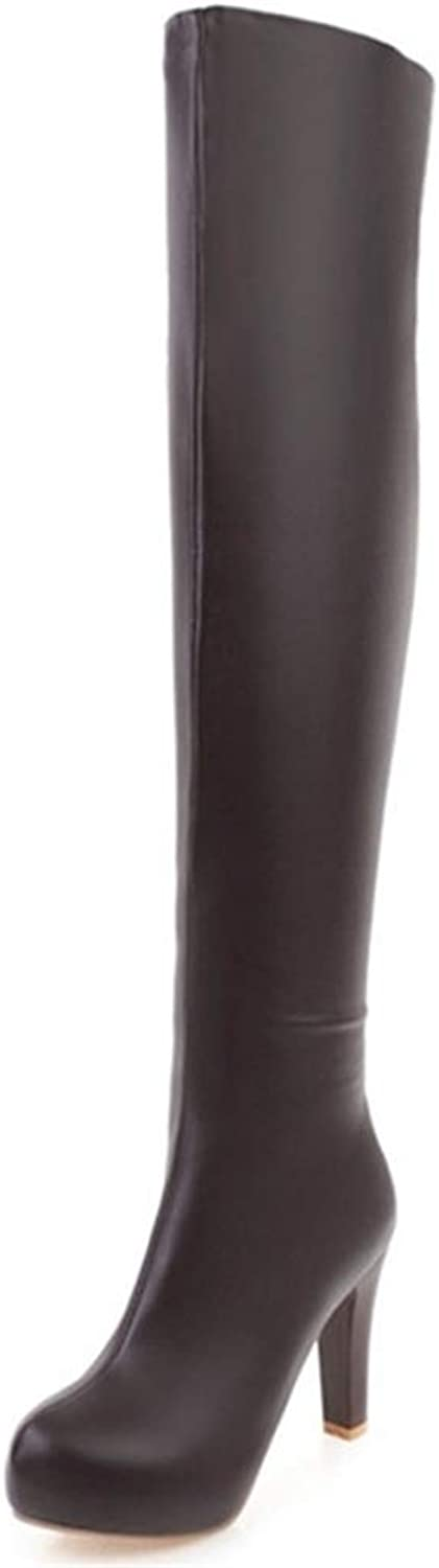 Hoxekle Woman Over The Knee Boot High Heel Round Toe Slip On Zipper Thigh High Boots Ladies Winter Platform shoes