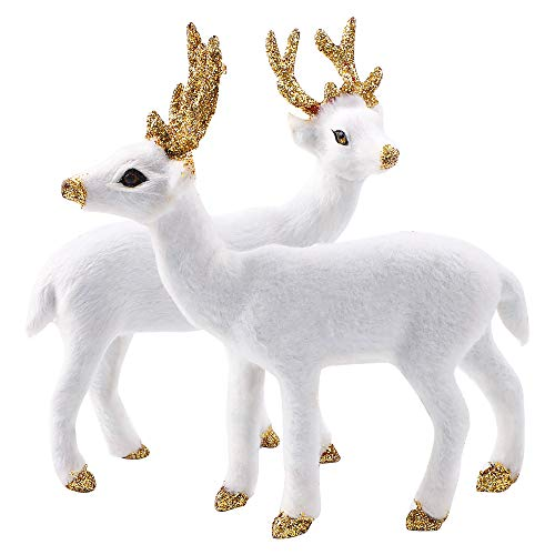 Bożonarodzeniowe figurki renifera 2 szt. białe renifery sztuka zwierzę ozdoba miniatura zwierzęta leśne figurki symulacja stojący jeleń łoś dekoracja na Boże Narodzenie dekoracje przyjęcie upominki zaopatrzenie