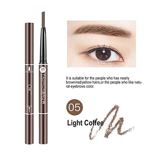 3D Eyebrow Pencil, Long Lasting Non-marking Eyebrow Pencil Brow with Brush for Girls 2 PACK(Light coffee)